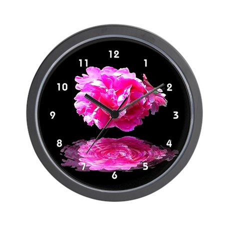 Peony Reflections Wall Clock