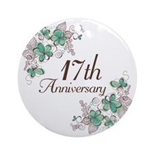 17th Anniversary Keepsake Ornament (Round)