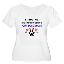 Custom I Love My Newfoundland Plus Size T-Shirt