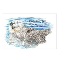 Otterly Best Mom ever Fun Quote Otter Postcards (P
