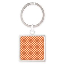Orange and Cream Polka Dots Pattern Keychains