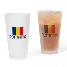 I HEART ROMANIA FLAG Drinking Glass