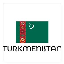 "I HEART TURKMENISTAN FLAG Square Car Magnet 3"" x 3"