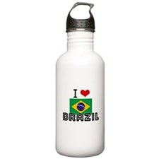I HEART BRAZIL FLAG Water Bottle