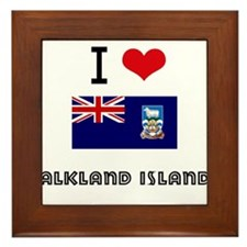 I HEART FALKLAND ISLANDS FLAG Framed Tile