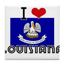I HEART LOUISIANA FLAG Tile Coaster