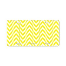 Chevron Zig Zag Pattern Yellow Aluminum License Pl