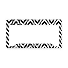 Chevron Zig Zag Pattern Black License Plate Holder