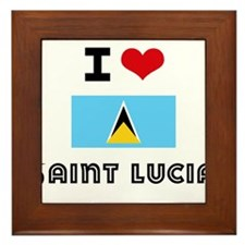 I HEART SAINT LUCIA FLAG Framed Tile