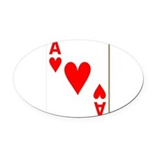 Ace of Hearts Playing Card Oval Car Magnet