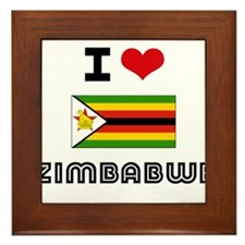 I HEART ZIMBABWE FLAG Framed Tile
