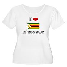 I HEART ZIMBABWE FLAG Plus Size T-Shirt