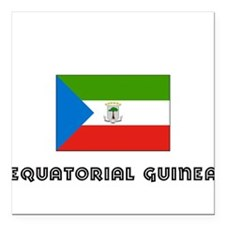 I HEART EQUATORIAL GUINEA FLAG Square Car Magnet 3
