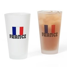 I HEART FRANCE FLAG Drinking Glass
