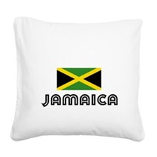I HEART JAMAICA FLAG Square Canvas Pillow