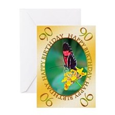 90th birthday. butterfly on a flower Greeting Card
