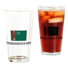 I HEART TURKMENISTAN FLAG Drinking Glass