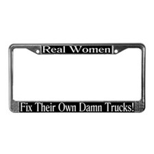 """Women Fix Trucks"" License Plate Frame"
