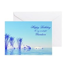 Grandson, a peaceful water birthday card Greeting