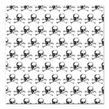 Skull And Crossbones Pattern Square Car Magnet 3""