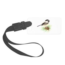 Chickadee Bird on Pine Branch Luggage Tag
