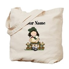 Personalized Girl with Chicken Tote Bag