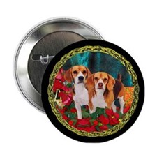 Beagle Christmas Watercolor Button