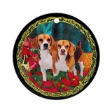 Beagle Christmas Watercolor Ornament (Round)