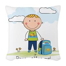 School boy - personalize - Woven Throw Pillow