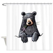 Pocket Black Bear Shower Curtain