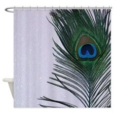 Glittery White Peacock Shower Curtain