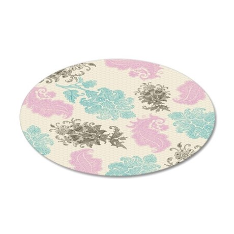 lovely pastel floral damask  35x21 Oval Wall Decal