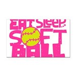 Eat, Sleep, Softball - Pink Rectangle Car Magnet