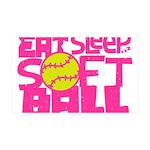 Eat, Sleep, Softball - Pink Wall Decal
