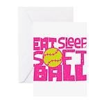Eat, Sleep, Softball - Pink Greeting Cards (Pk of