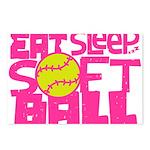 Eat, Sleep, Softball - Pink Postcards (Package of