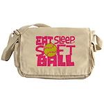 Eat, Sleep, Softball - Pink Messenger Bag