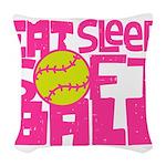 Eat, Sleep, Softball - Pink Woven Throw Pillow