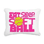 Eat, Sleep, Softball - Pink Rectangular Canvas Pil