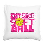 Eat, Sleep, Softball - Pink Square Canvas Pillow