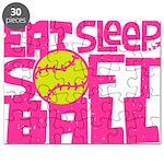 Eat, Sleep, Softball - Pink Puzzle