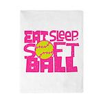 Eat, Sleep, Softball - Pink Twin Duvet
