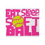 Eat, Sleep, Softball - Pink Throw Blanket