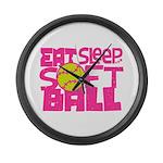 Eat, Sleep, Softball - Pink Large Wall Clock
