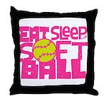 Eat, Sleep, Softball - Pink Throw Pillow