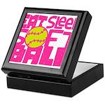 Eat, Sleep, Softball - Pink Keepsake Box
