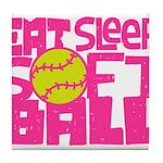 Eat, Sleep, Softball - Pink Tile Coaster