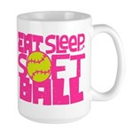 Eat, Sleep, Softball - Pink Mug