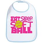 Eat, Sleep, Softball - Pink Bib