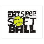 EAT, SLEEP, SOFTBALL - Black Posters
